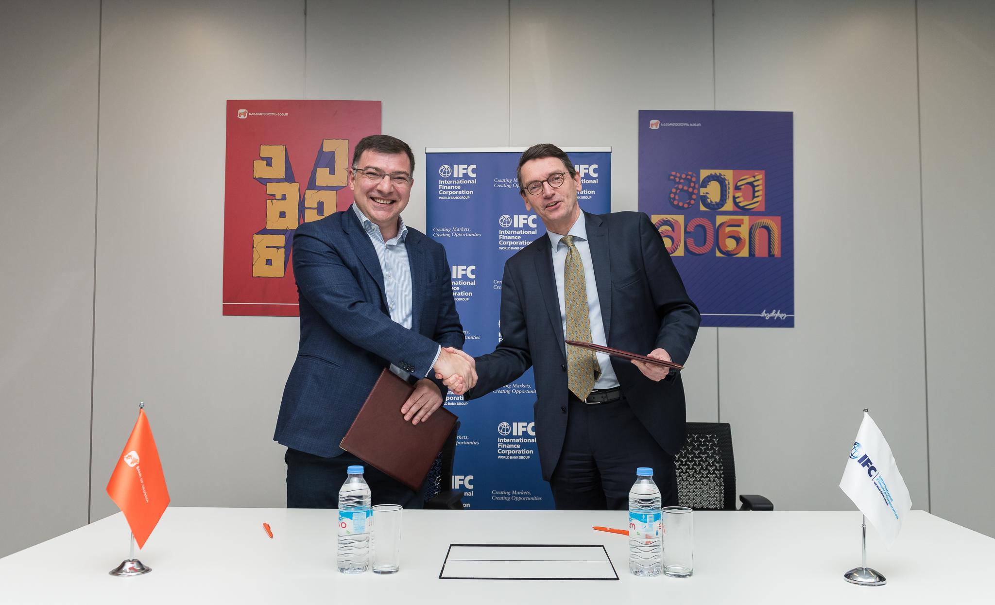 Photo of საქართველოს ბანკმა საერთაშორისო საფინანსო კორპორაციასთან (IFC) 100 მილიონი ლარის მოცულობის 5 წლიან სასესხო ხელშეკრულებას მოაწერა ხელი